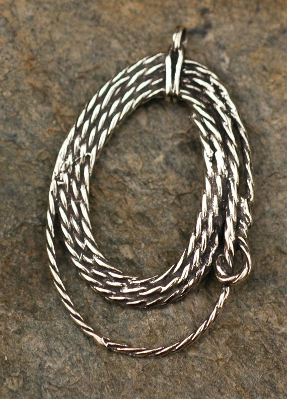 Western Cowboy Lasso Rope Charm in Sterling Silver