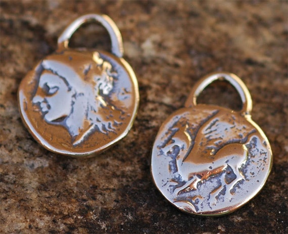 Pegasus Horse Small Coin Charm in Sterling Silver 184s