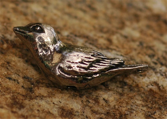Green Girl Studios Artisan Pewter Bird Sparrow Bead