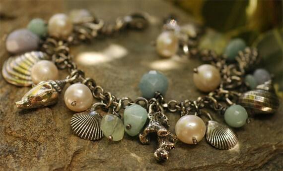 Signature Sterling Silver SeaShells and Gemstone Bracelet
