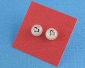 Fused Glass Post Earrings- Sweet Hearts