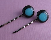 Fused Glass Bobbypins- Black and Blue