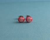 Fused Glass Post Earrings- Tiny Hearts
