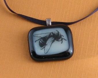 Fused Glass Pendant- Bee Illustration