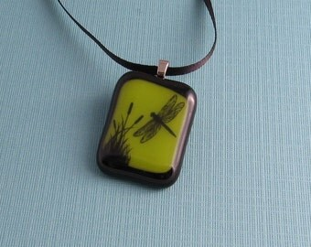 Fused Glass Pendant Necklace- Dragonfly World