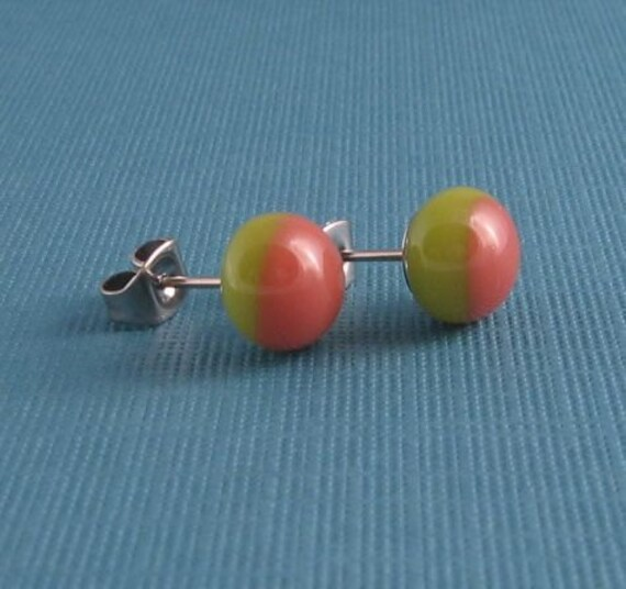 Fused Glass Post Earrings- Pink and Green