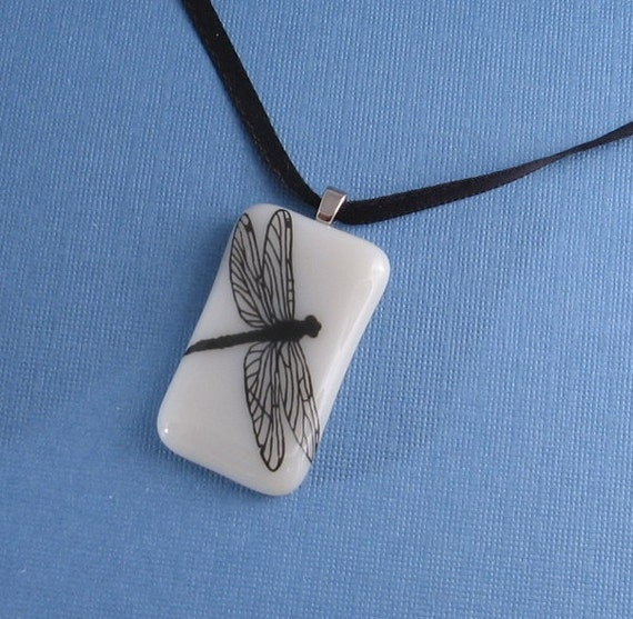 Fused Glass Pendant Necklace- Dragonfly