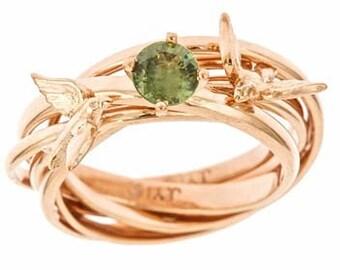 Custom Engagement Nest Ring 14k Rose Gold Green Sapphire