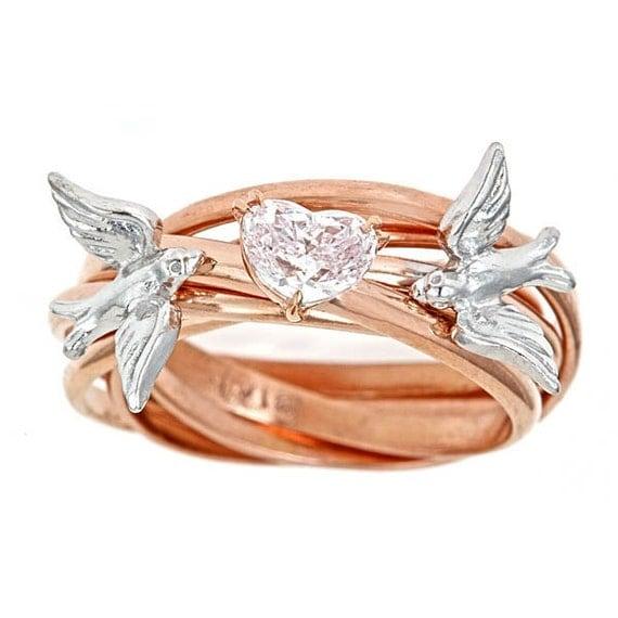 Custom Diamond Engagement Nest Ring SOLD GIA .54ct RARE Fancy Lt. Pink Heart Nest Ring 18k Rose and 18k Palladium