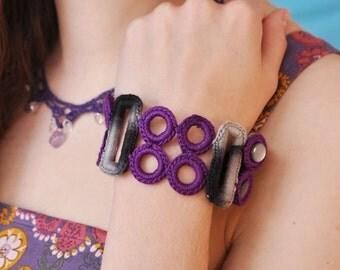 Purple rings crocheted cuff bracelet