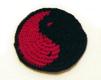 Yin yang patch in black and red