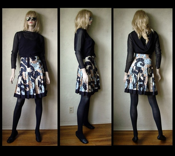 Vintage 80's Jeanne Marc paisley graphic Print flouncy pleated skirt S