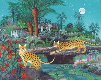 2 Spotted Cats in the Jungle print of an original painting