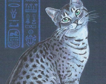 Silver Egyptian Mau print of an original  cat painting