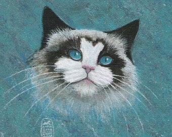 Ragdoll Cat Face, print of an original painting