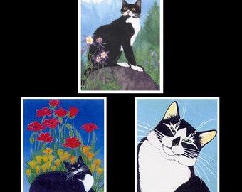 Set of 3 Black & White Cat Art Magnets, Tuxedo Cats