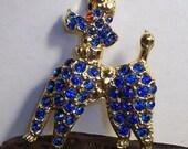 Vintage Blue Rhinestone Poodle Pin / Brooch