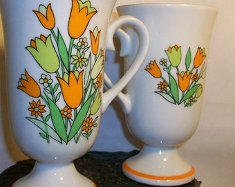 Pair of Vintage Mod Mugs with Lime Green and Orange Flowers