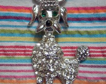 Vintage Regency Rhinestone Dog Poodle Brooch \/ Pin