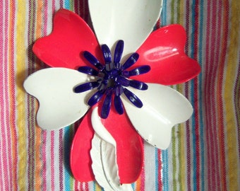 Vintage Red, White, and Blue Enamel Flower Brooch / Pin