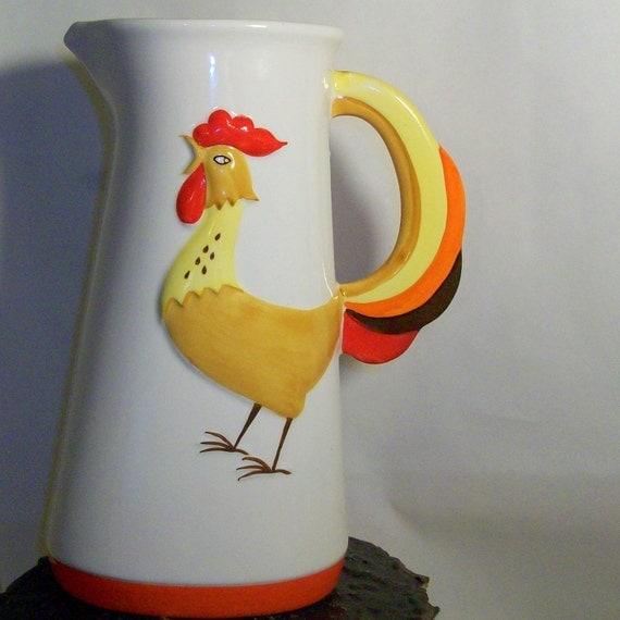 Vintage 1964 Holt Howard Ceramic Coq Rouge Rooster Pitcher