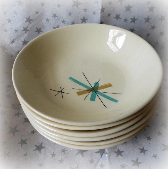 Set of Six Vintage Salem North Star Atomic Eames Era Small Bowls