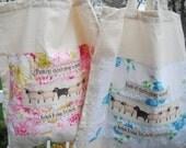 Knitting bag, crochet bag, project on the go, baabaa sheep tote bag - Blue