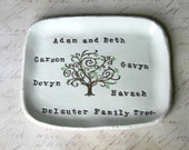 Personalized Family Tree Ring Dish: Anniversary Gift, Family Pottery, Home Decor, Birthday Gift For Her