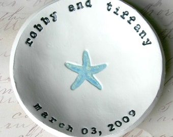 Personalized Wedding Gift: Starfish Bowl, Shower Gift, Anniversary Gift, Ring Bowl, Beach Decor