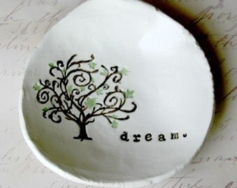 Catch all Dish: Personalized Bowl, Ring Dish, Dream Bowl, Whimsical Tree Art