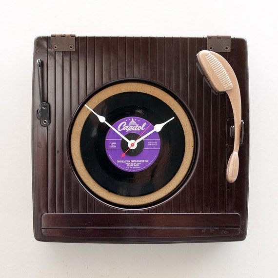 Clock made from a Recycled Record Player
