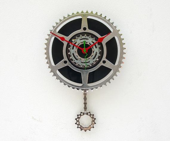 Recycled Bike Chain ring pendulum Clock