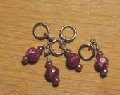 Red Flowered and Bronze-colored Beads Stitch Markers - Set of 4