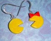 Pac Man loves  Ms Pac Man 80's video game Earrings retro pop culture icon original miniature