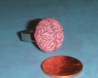 Brain RING or ZOMBIE Brain Ring - adjustable silver band