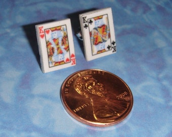 Poker Playing Card Stud Earrings - pick any two cards for your set