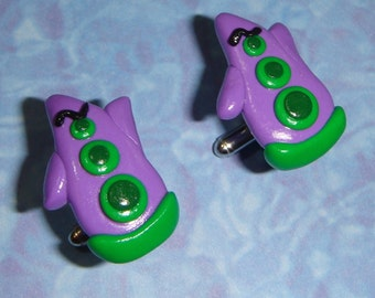 CUFFLINKS Purple Tentacle from Maniac Mansion Day of the Tentacle