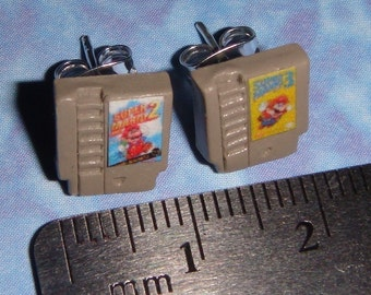 STUD EARRINGS Nintendo games cartridge