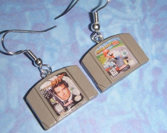 N64 nintendo 64 game cartridge earrings - pick any 2 games