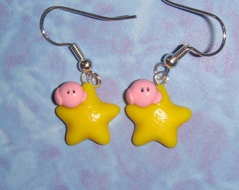 Kirby Riding the Warp Star Earrings