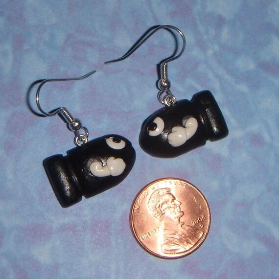 Nintendo Bullet Bill earrings
