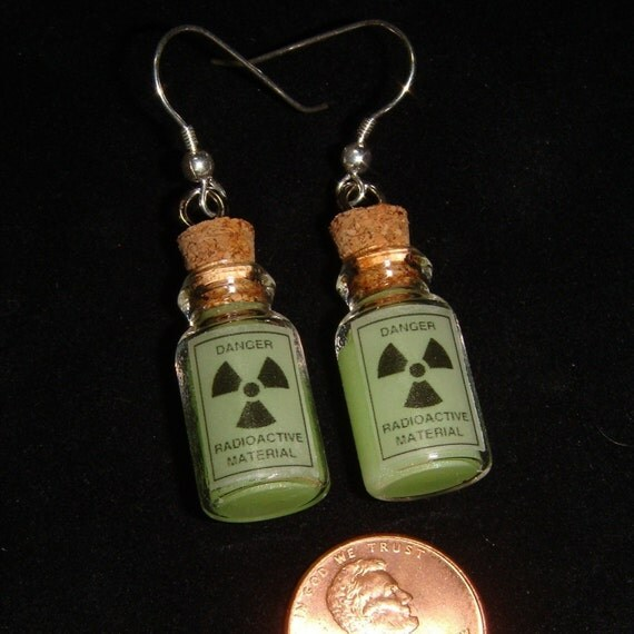 EARRINGS - Corked Glass Vial of novelty glow-in-the-dark radioactive waste