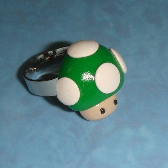 RING Nintendo Super Mario Green Mushroom - silver adjustable band