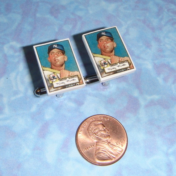 CUFFLINKS Baseball Card Collector Mickey Mantle cuff links