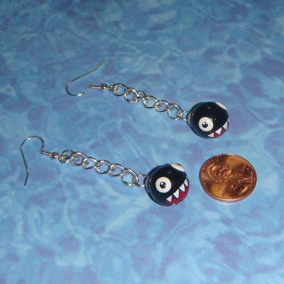 nintendo chain chomp earrings