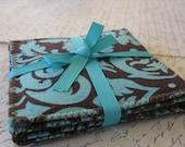 Aqua and Brown Damask Fabric Coasters (Set of 5)