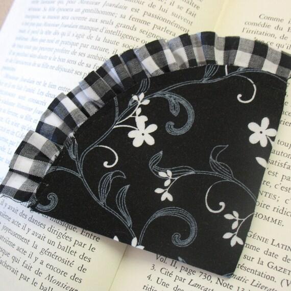 Black Floral and Gingham Corner Bookmark
