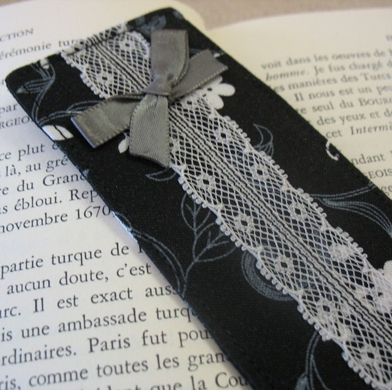 Black and White Floral Lace Bookmarks