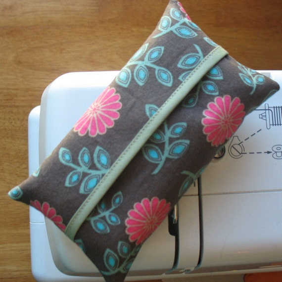 Pink, Brown, and Aqua Tissue Holder