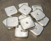 4 Silver Greek Ceramic Beads - Large Holed 15mm Square Greek Metalized Washer Beads
